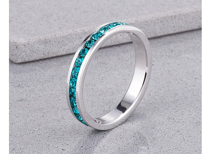 Sparkly Stackable Aqua Blue Crystal Eternity Band